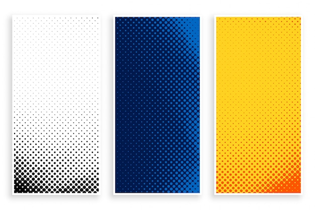 Set of stylish halftone banners set