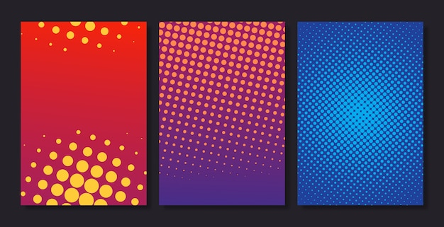Set of stylish halftone vertical background