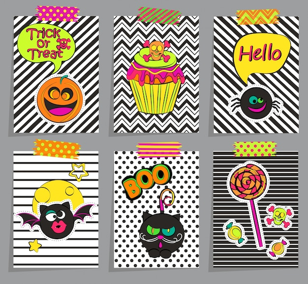 Set of stylish halloween cards.