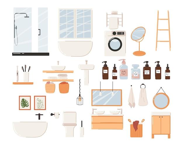 Set of stylish scandinavian bathroom interior. modern scandinavian bathtub, sink and toilet.