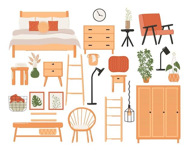 Set of stylish scandinavian bedroom interior. modern scandinavian bed, wardrobe, mirror, night stand, plant, lamp, home decorations.