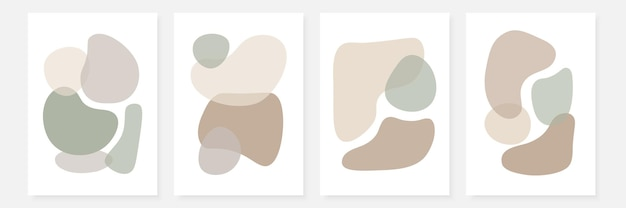 Set of stylish templates with abstract shapes in pastel colors