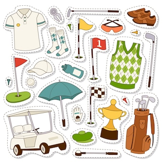 Set of stylized golf icons