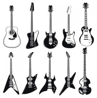 Set of stylized guitars. collection of electric musical instruments.