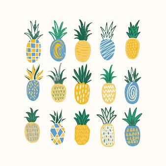 Set of stylized pineapples of various texture isolated