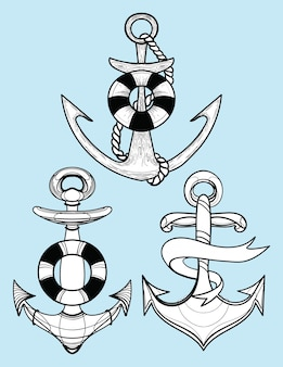 Set of stylized ship anchors. collection of tattoos with an anchor.