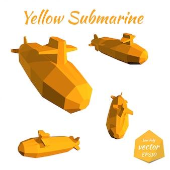 Set submarines isolated on white yellow submarine