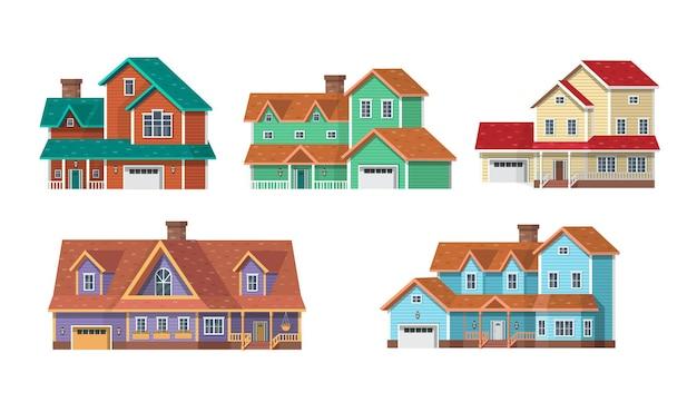 교외 주택, 코티지 및 빌라를 설정하십시오. 게임이나 애니메이션에 대한 벡터 만화 일러스트 레이 션.