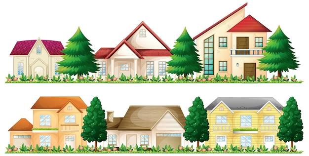 Set di case suburbane su sfondo bianco