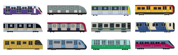 Set of subway train isolated on white
