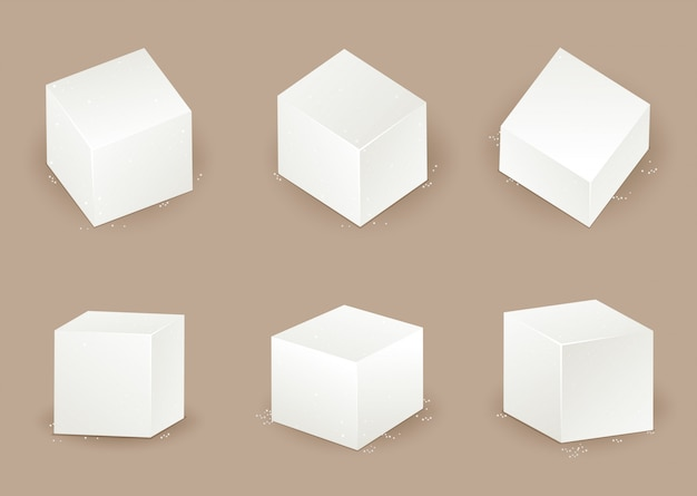 Set of sugar cube in different angle
