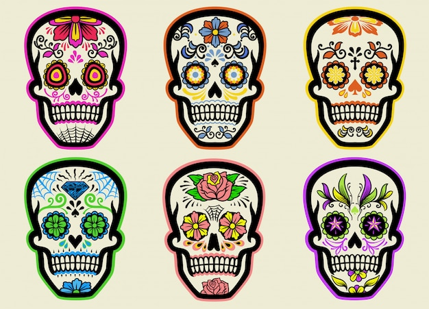 Set of sugar skull collection