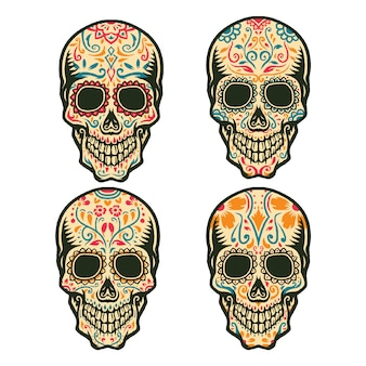 Set of sugar skull, isolated