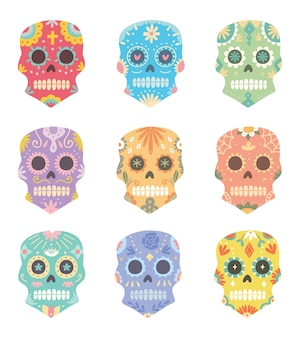 Set of sugar skull