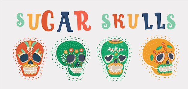 Set of sugar skulls mexican day of the dead