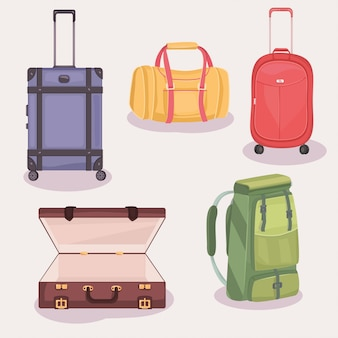 Set of suitcases and bags for travel