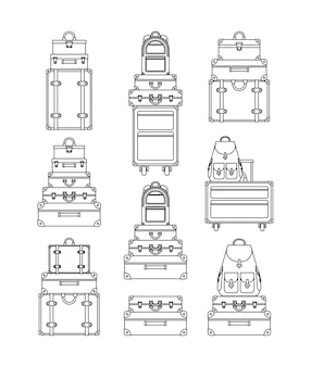 Set suitcases styles icons