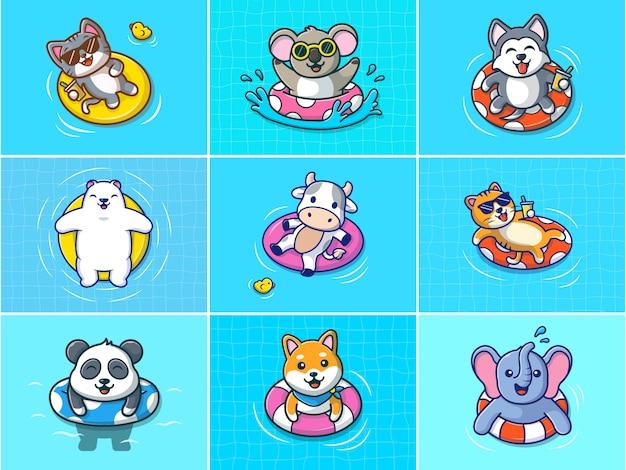 A set of summer animals illustration.