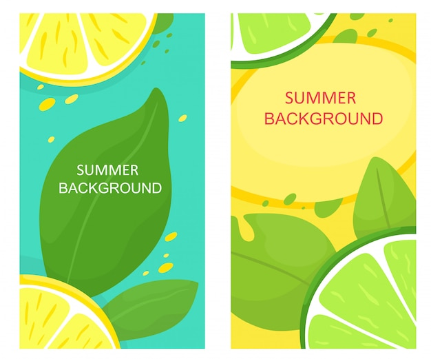 Set of summer backgrounds with fruits