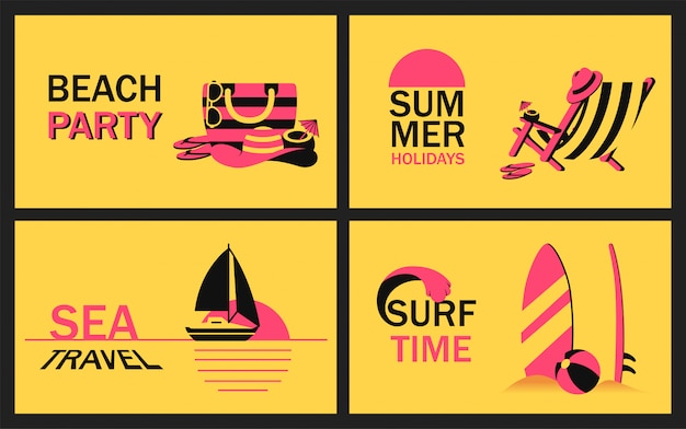 Set summer banner with beach accessory, deckchair, sailboat in ocean at sunset and surfboard in sand in simplified style. vector modern poster for beach party