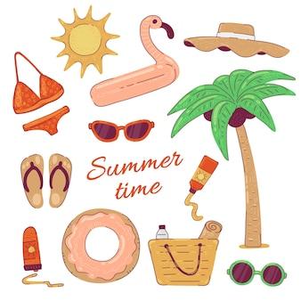 Установите летнюю пляжную одежду для отпуска. солнцезащитные очки в бикини и иллюстрация в кругу фламинго