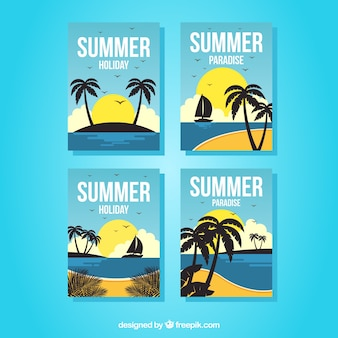Set of summer cards with beach view