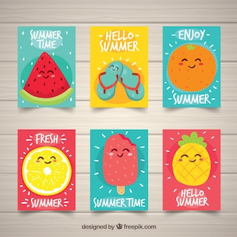 Set of summer cards with cute fruits