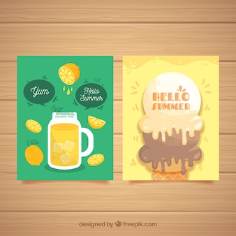 Set of summer cards with fresh food