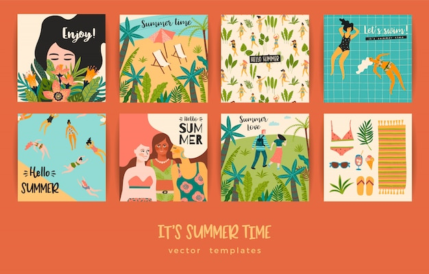 Set of summer cards with illustrations