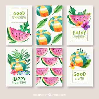 Set of summer cards with watermelon and other watercolor elements