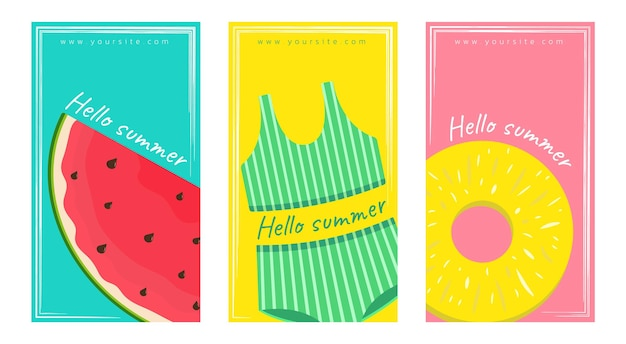 Set of summer cards with watermelon swimwear and pineapple template for post banner