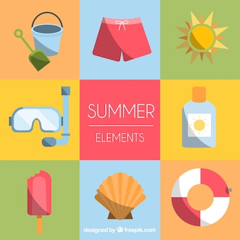 Set of summer clothes and elements in flat style