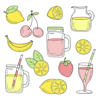 Set of summer cocktails line drawn on a white background vector sketch food