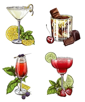 Set of summer cocktails