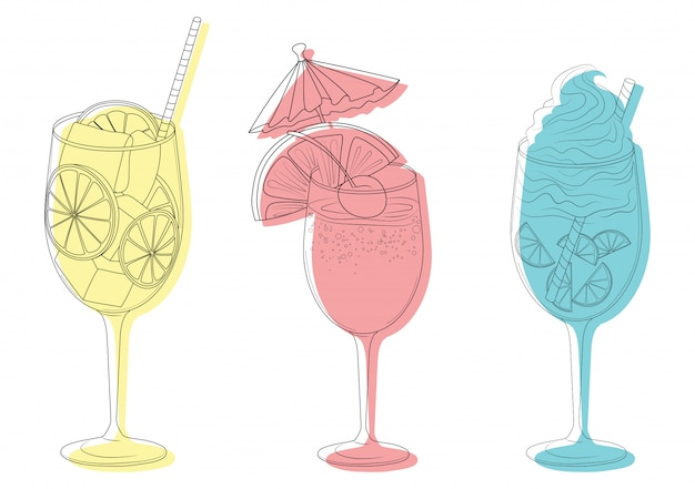 Set of summer cooling drinks with fruits. collection of stylized alcoholic cocktails in glasses.