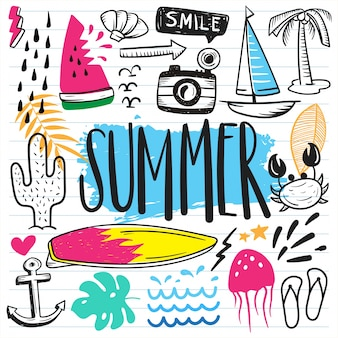 Set of summer cute doodle on paper background