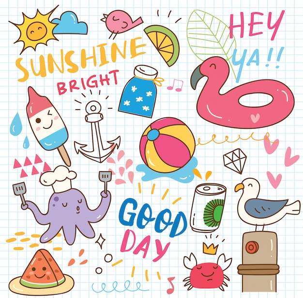 Set of summer doodle collage