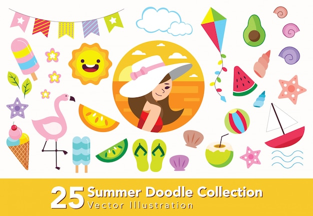 Set of summer doodle collection