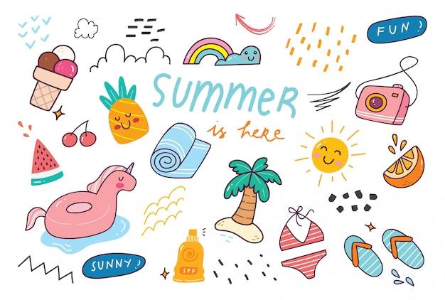 Set of summer doodle illustration