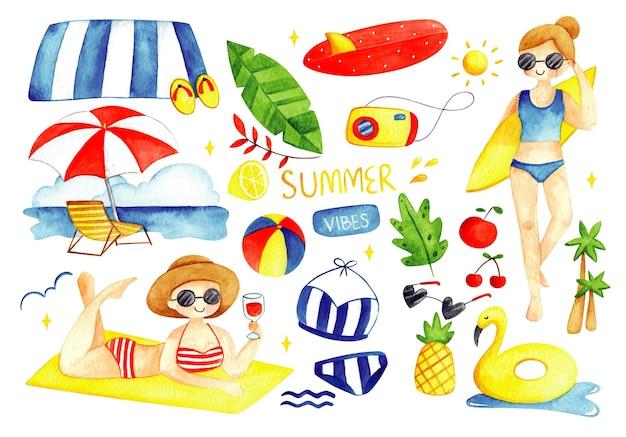 Set of summer doodles watercolor illustration
