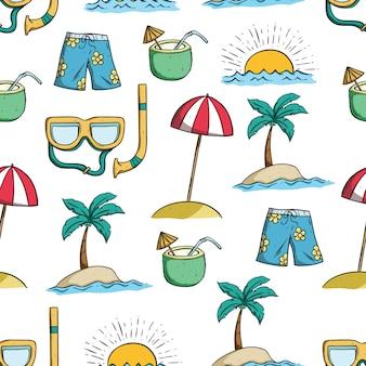 낙서 예술을 사용하여 원활한 패턴으로 여름 그리기 설정