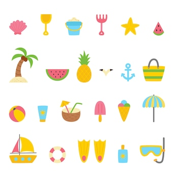Set of summer elements in cartoon style. vector illustration. summer collection.
