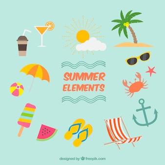 Set of summer elements in flat design