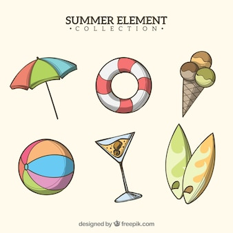 Set of summer elements in hand drawn style