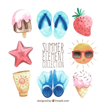 Set of summer elements in watercolor style