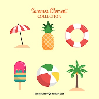 Set of summer elements with food and clothes in flat style