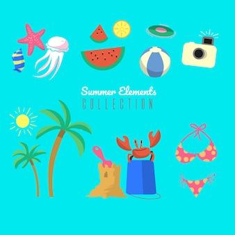 Insieme di elementi estivi con cibo e vestiti in mano stile disegnato