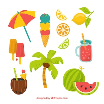 Set of summer elements with fruits and food in flat style
