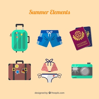 Set of summer elements