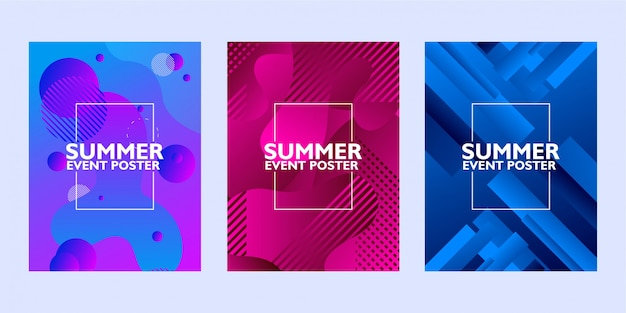 Set of summer event poster with abstract shape on colorful background